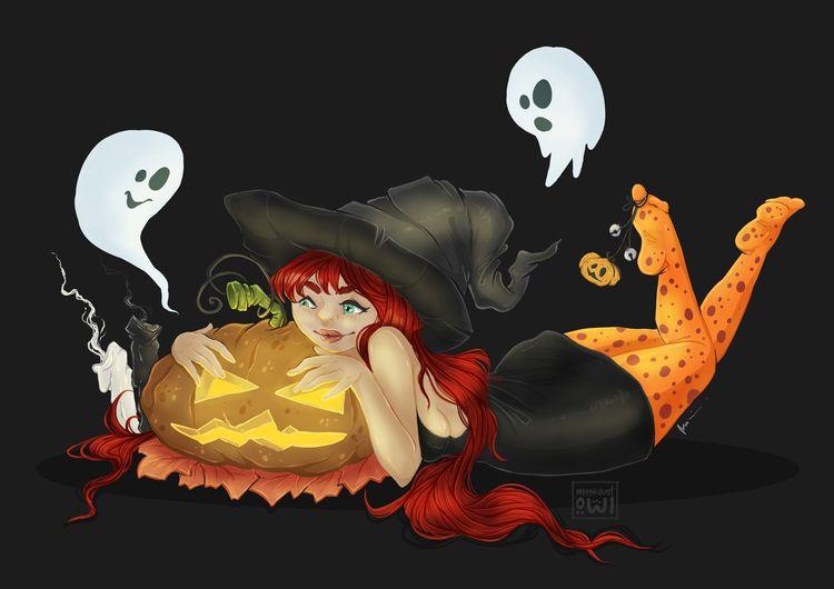 cute Halloween themed illustrat - moondustowl | ello