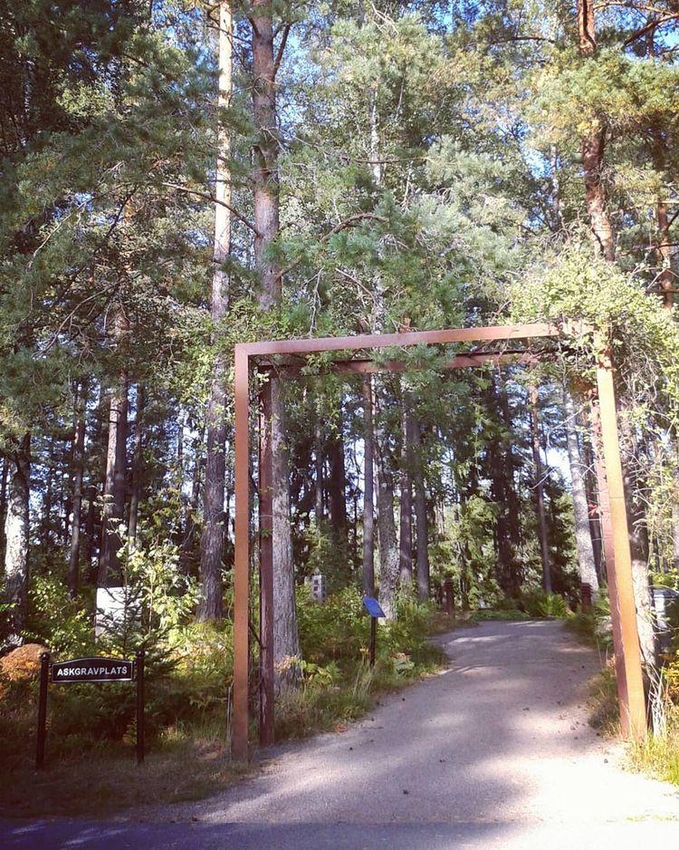 Ingången Askgravplatsen vilken  - skogskyrkogardar | ello