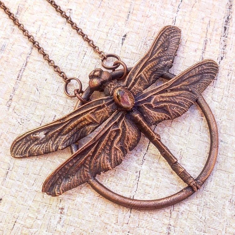Custom copper coated dragonfly  - hiphippiehooray | ello