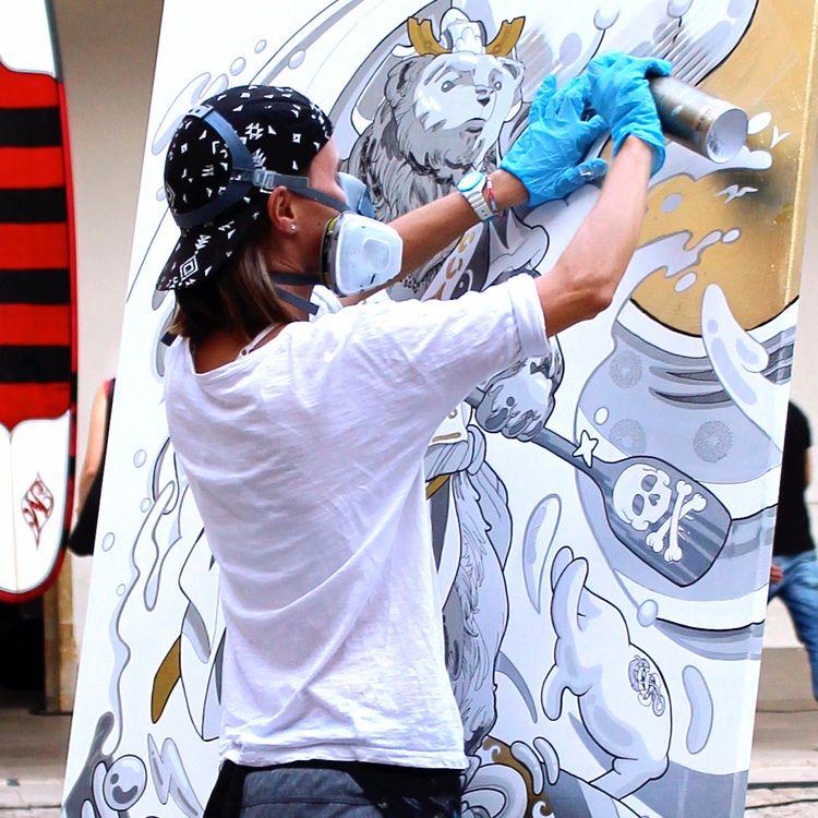 Surfing Bear Graffiti / Acrylic - beatoa | ello