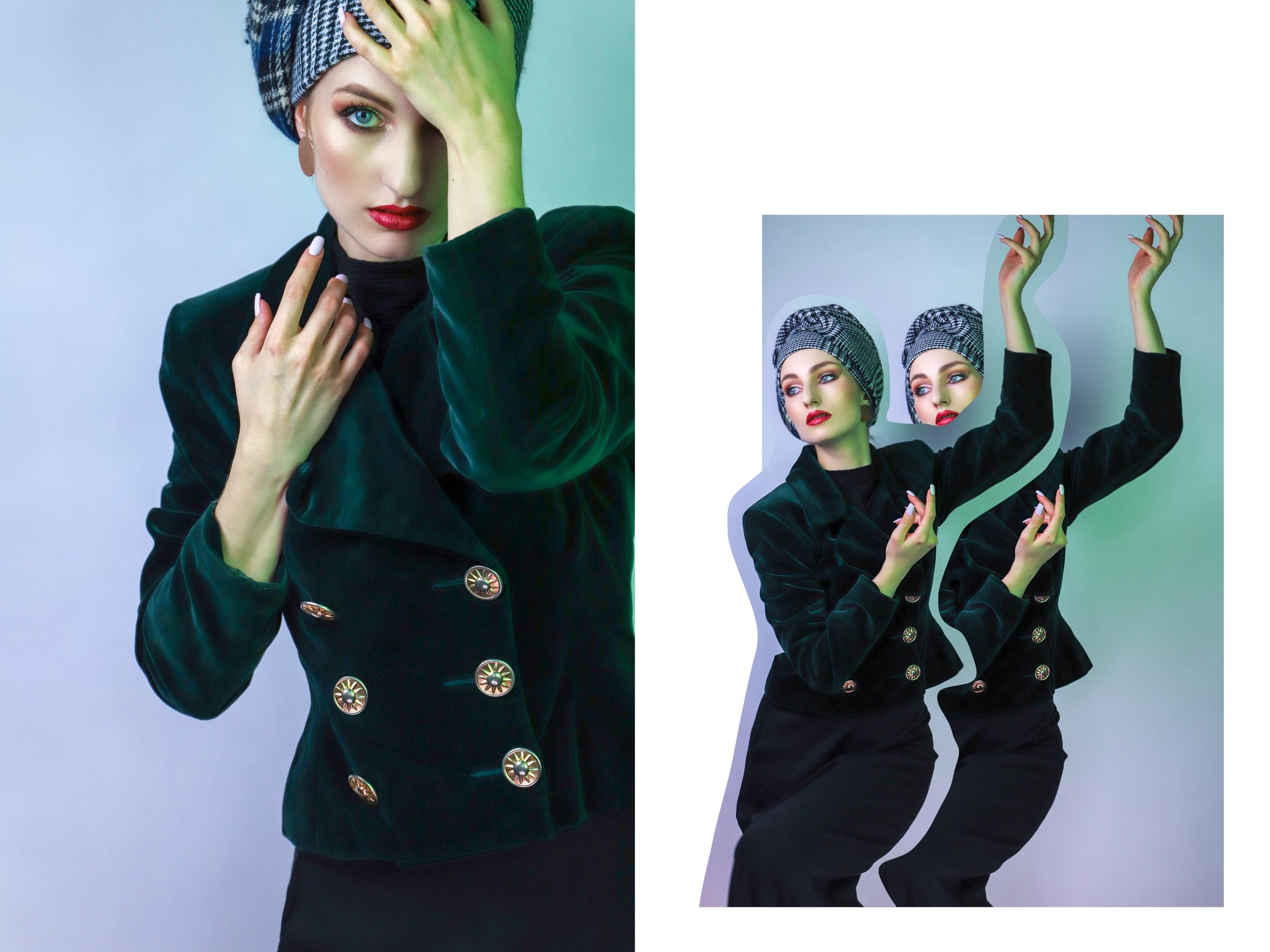 Obraz przedstawia dwa zdjęcia. Z lewej strony widzimy portret kobiety zasłaniającej swoją twarz lewą ręką, z prawej podwójną postać z uniesionymi rękami.