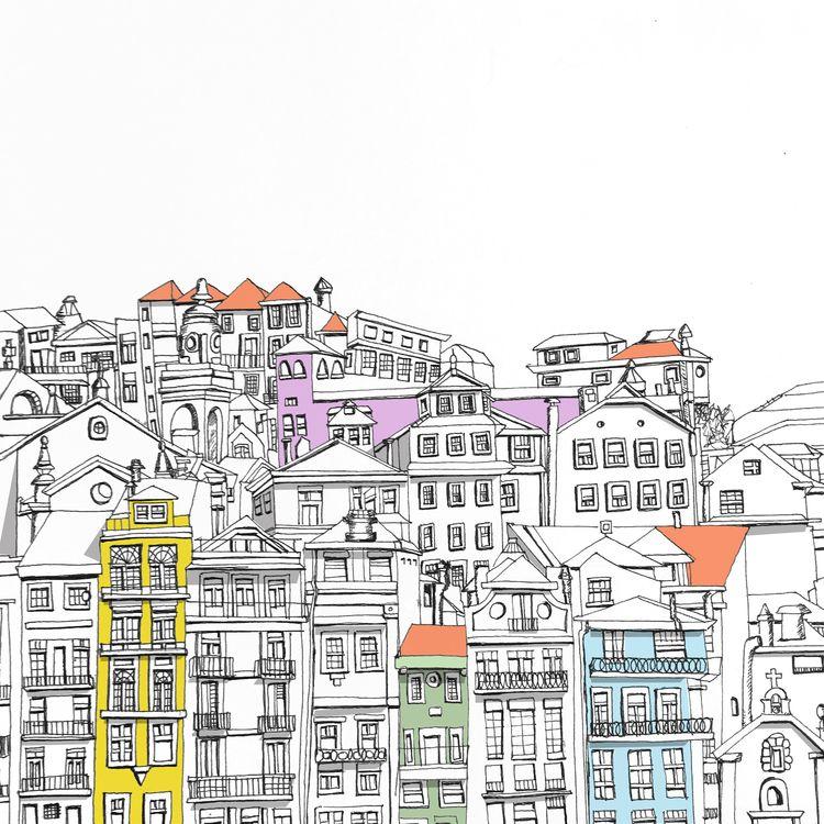 illustration, cityscape, porto - tinycircles | ello
