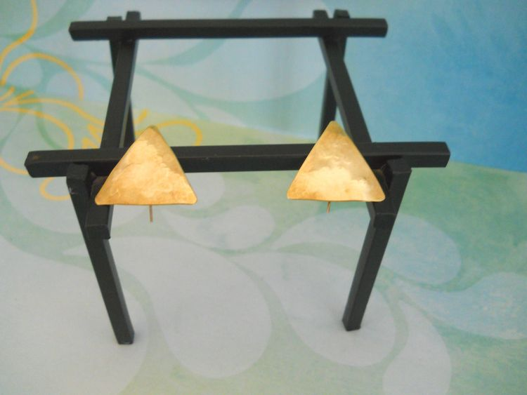 Brass Triangle Earrings  - earrings - theresa-marchione | ello