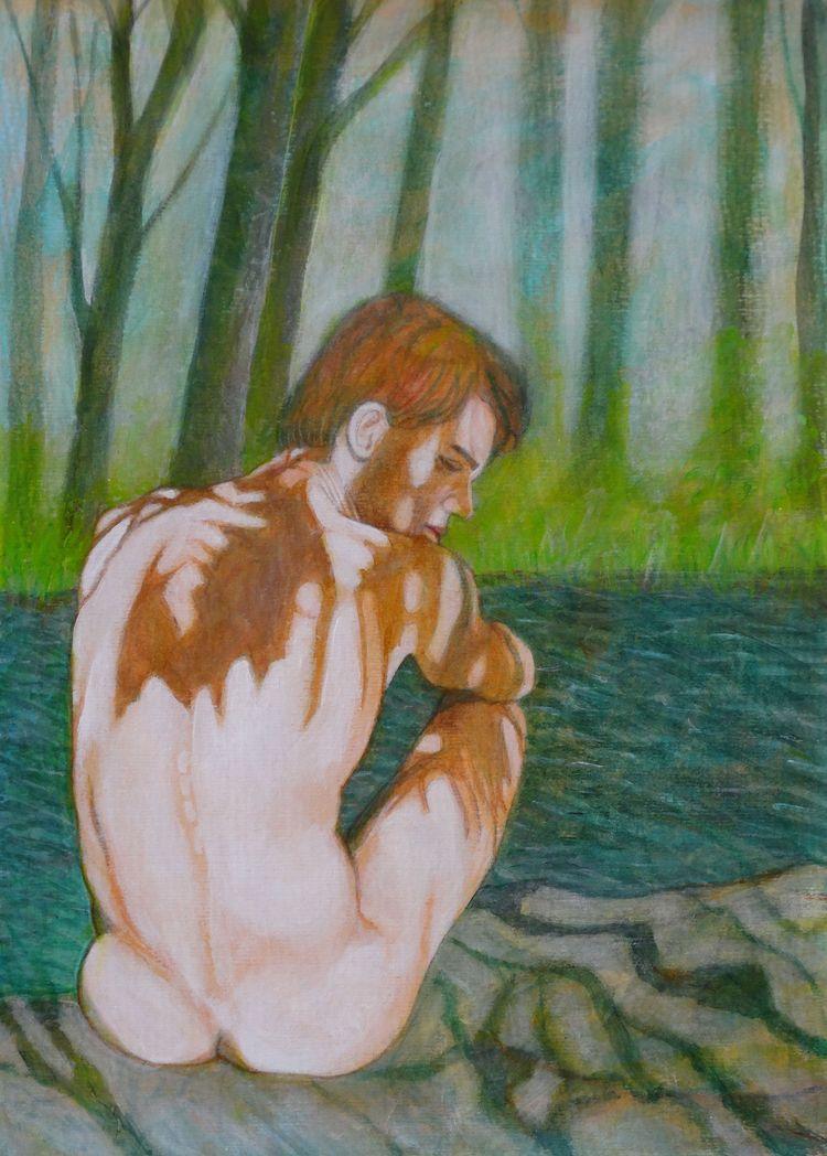 Male Nude 16 Acrylic Paper 29 c - loic-le-phoque-fringant | ello