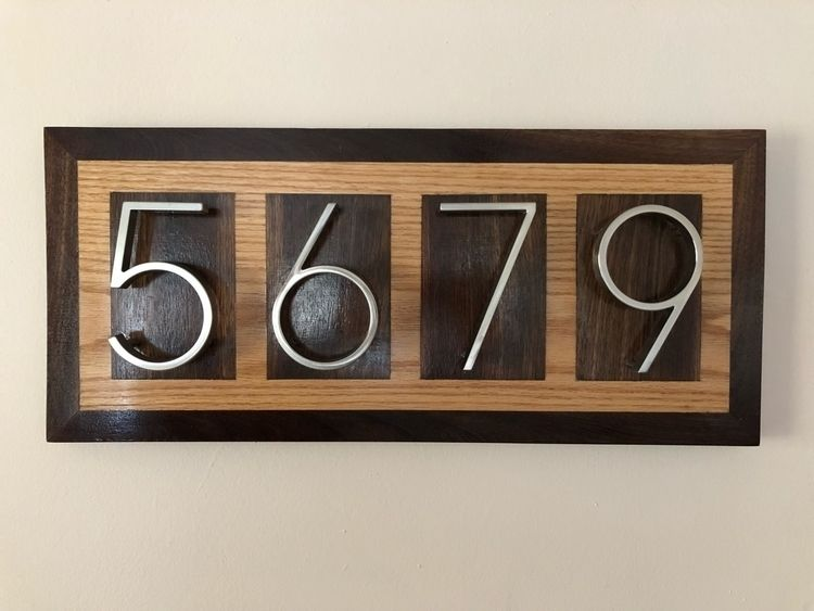 Address plaque birch black waln - pitmandesigns | ello