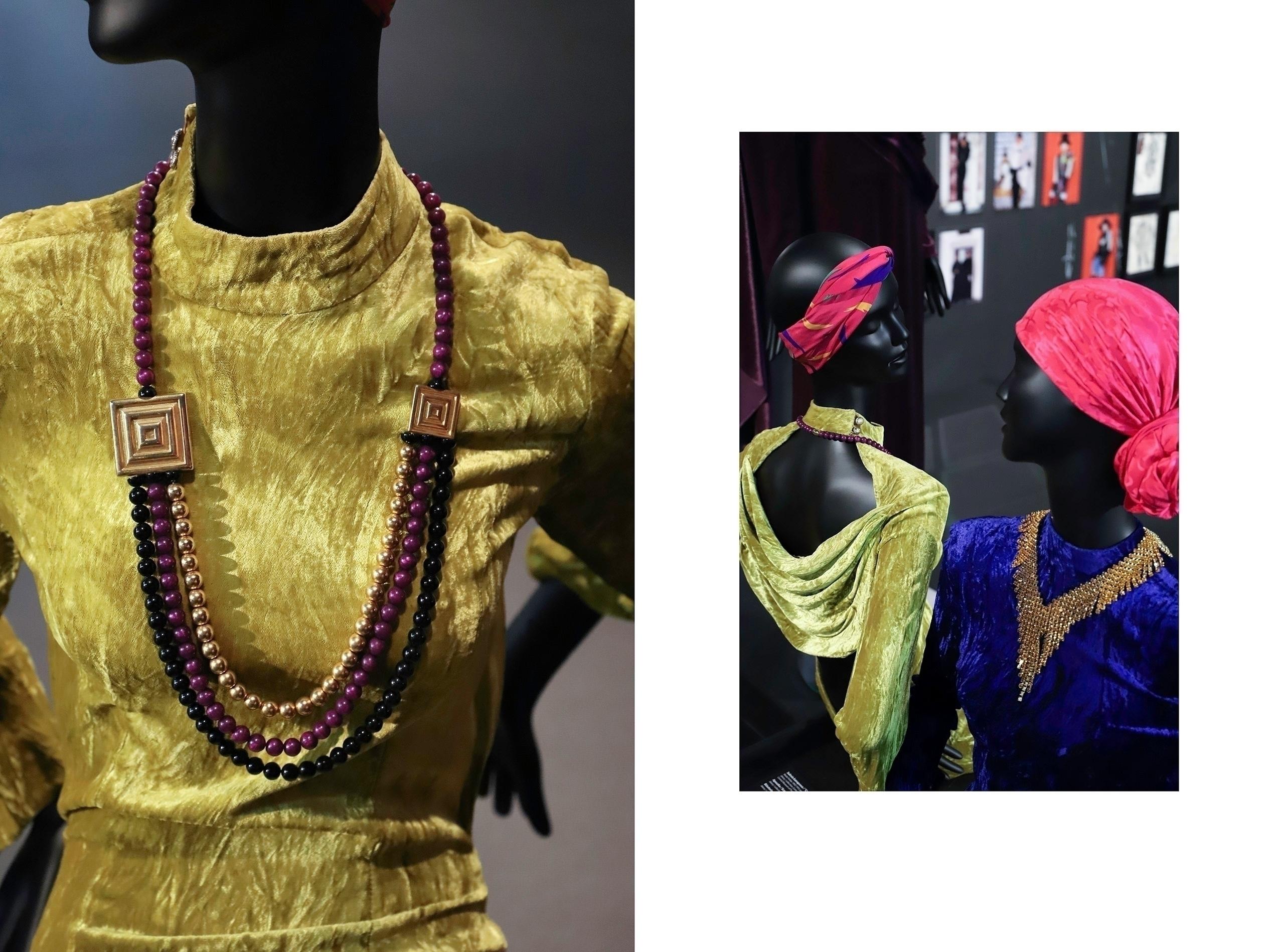 Obraz przedstawia dwa zdjęcia. Widzimy fragmenty manekinów ubranych w kolorowe stroje z czerwonymi chustami na głowach.
