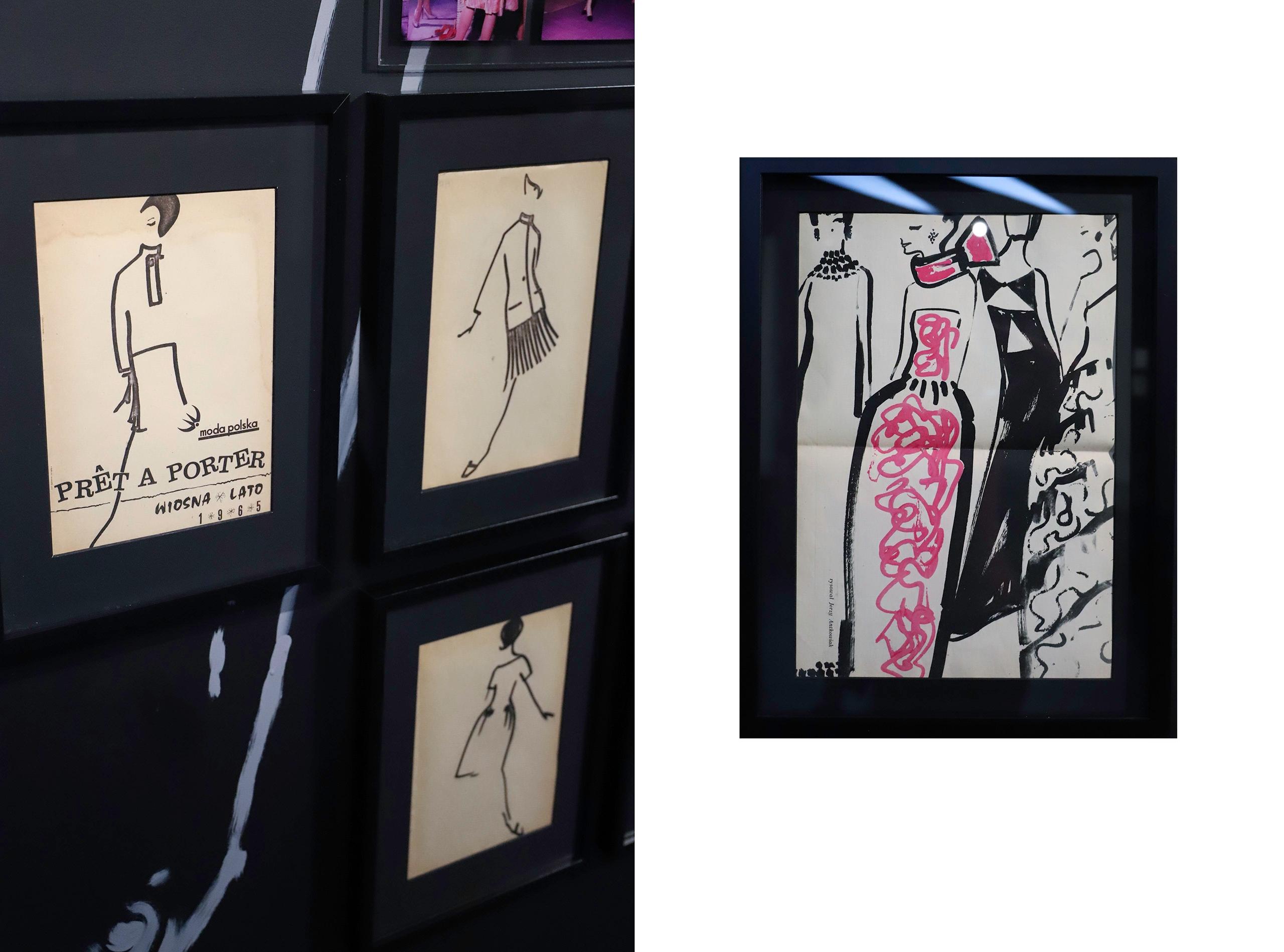 Obraz przedstawia dwa zdjęcia rysunków oprawionych w ramy.