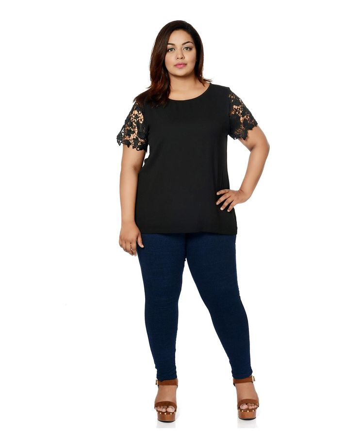 Oversized Lace Sleeves Top Cala - calae_plus_size_store | ello