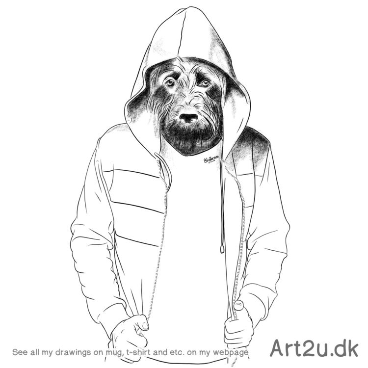 Pen Ink drawing Art2u.dk - Dogman - art2u | ello