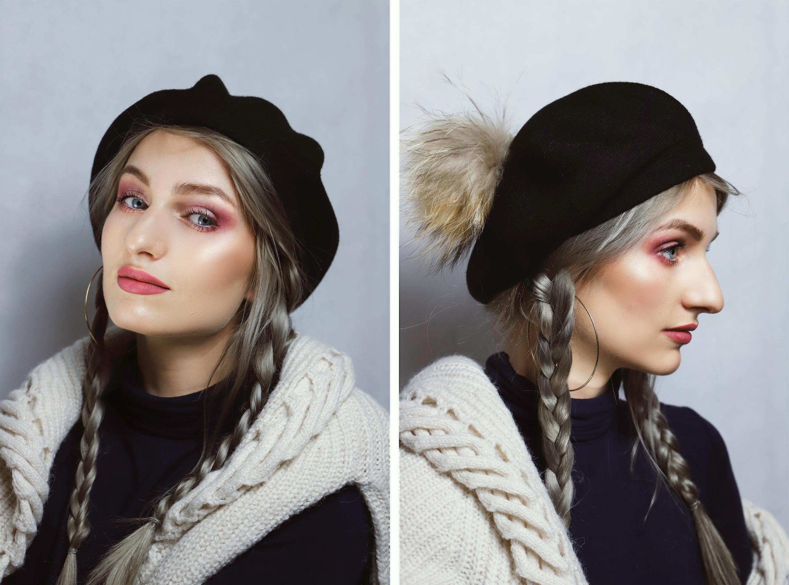 Obraz przedstawia dwa zdjęcia kobiety w warkoczykach z czarnym beretem na głowie.