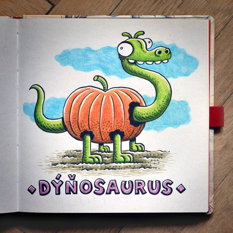 Dýňosaurus - brushpen, pentel, pentelbrushpen - macomix | ello