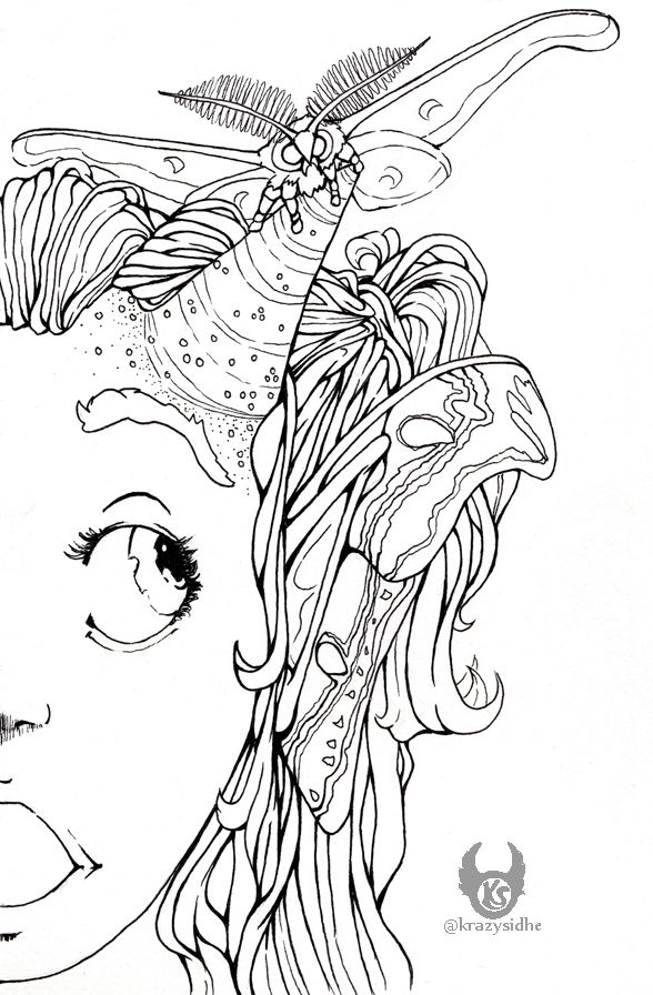 horn! tickles.  - drawing, ink, inkart - krazysidhe | ello