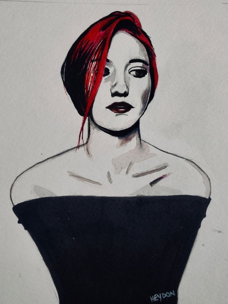 Red - Ink Paper 8x10 - heydon, elloportraits - heydon | ello