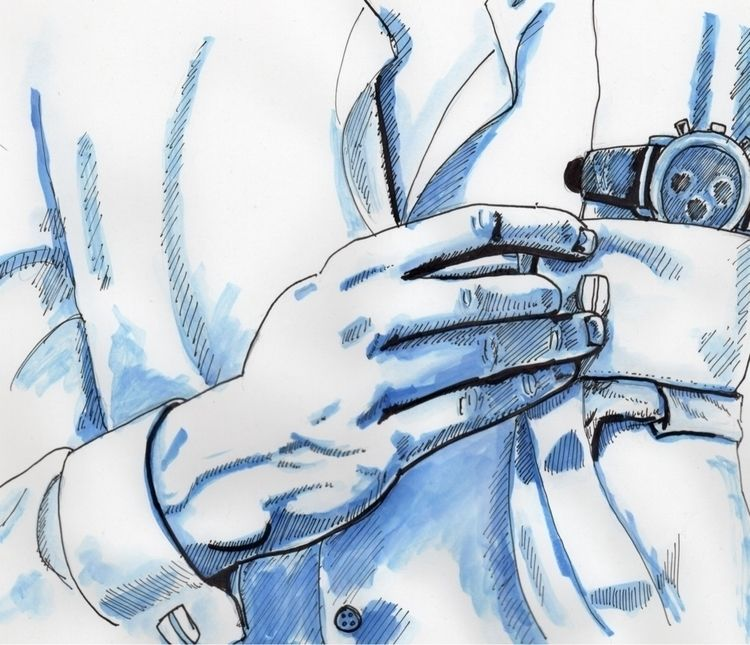 buttoning cuffs - ink, inkdrawing - fiftyfivefives | ello
