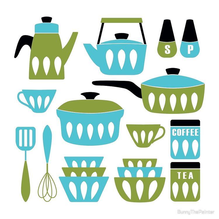 Midcentury Modern Kitchen Aqua  - littlebunnysunshine   ello