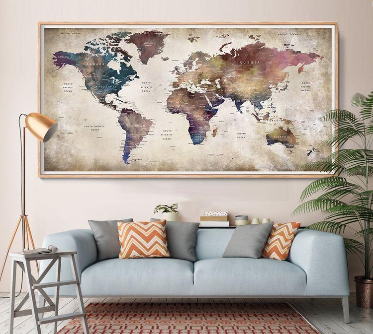 World Map Push Pin, Wall Art, L - fineartcenter | ello