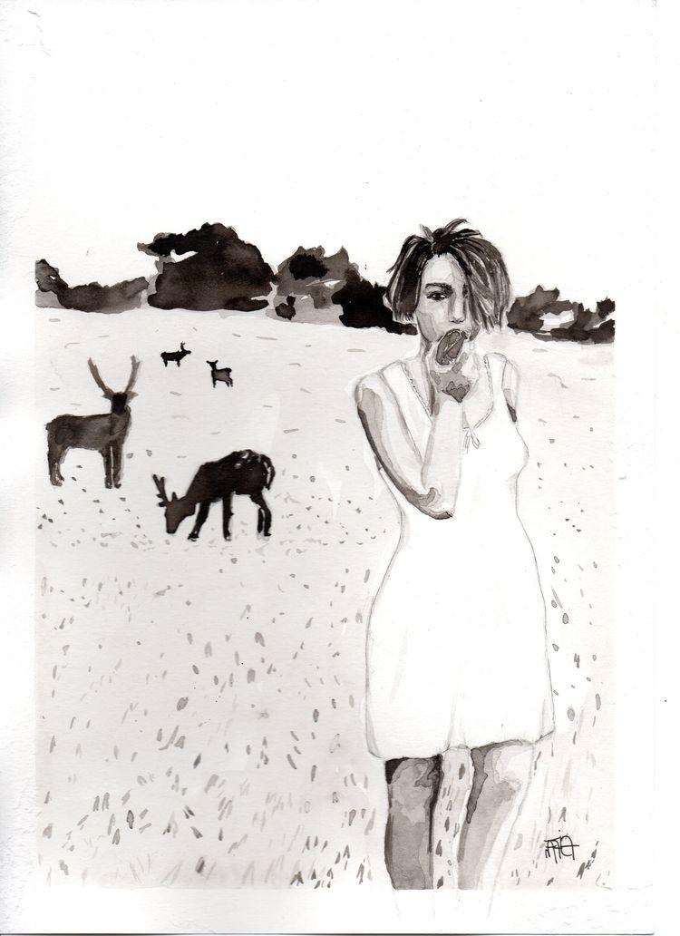 illustration, noir, drawing, inkwash - nataliadamiao | ello