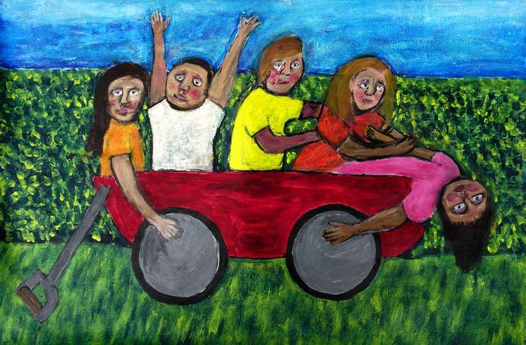 Red Wagon acrylic paper 16 19,  - artchrisdale | ello