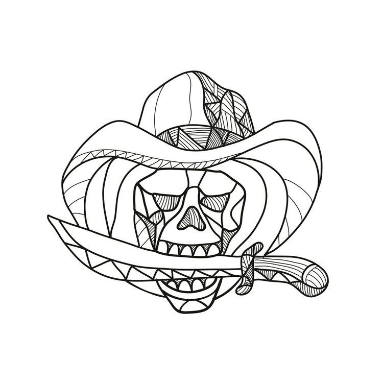 Cowboy Pirate Skull Biting Dagg - patrimonio   ello