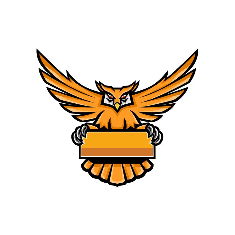Yellow Owl Spreading Wings Bann - patrimonio   ello