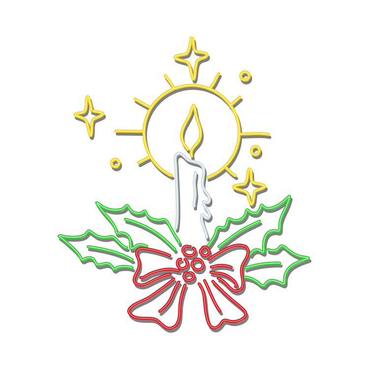 Christmas Candle Wreath Neon Si - patrimonio | ello