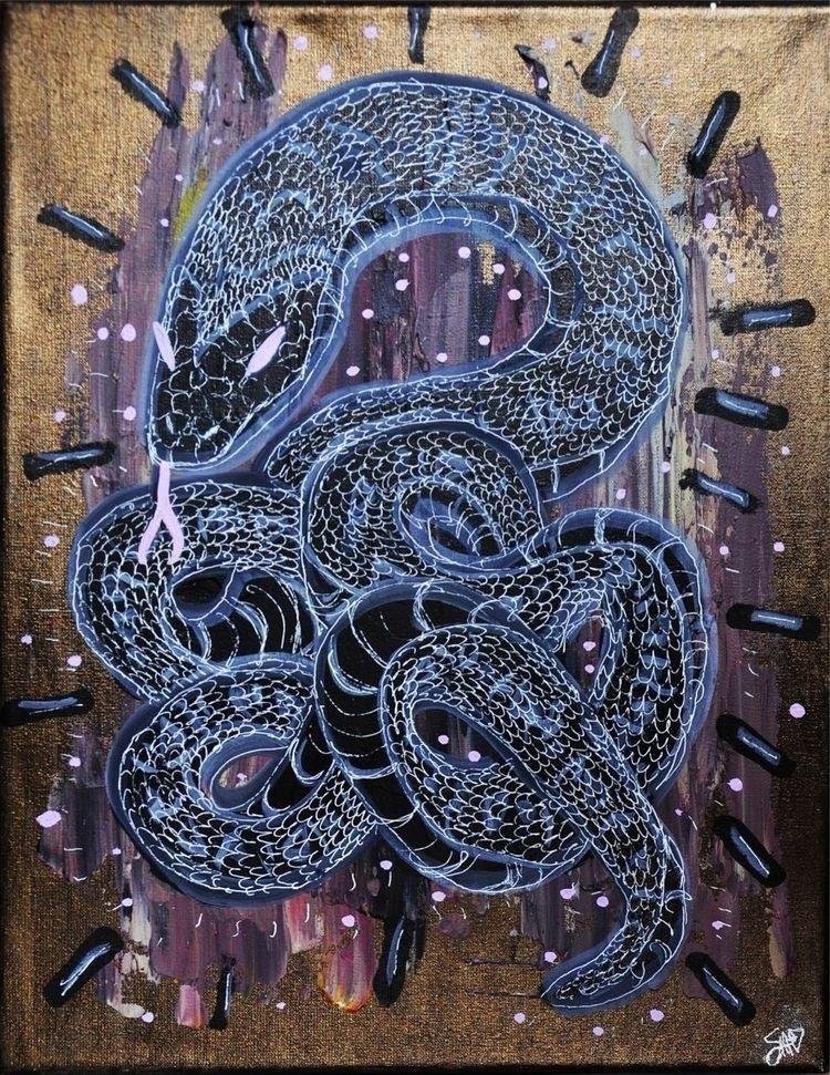 snake, painitng, mixedmedia, posca - sophiariviere | ello