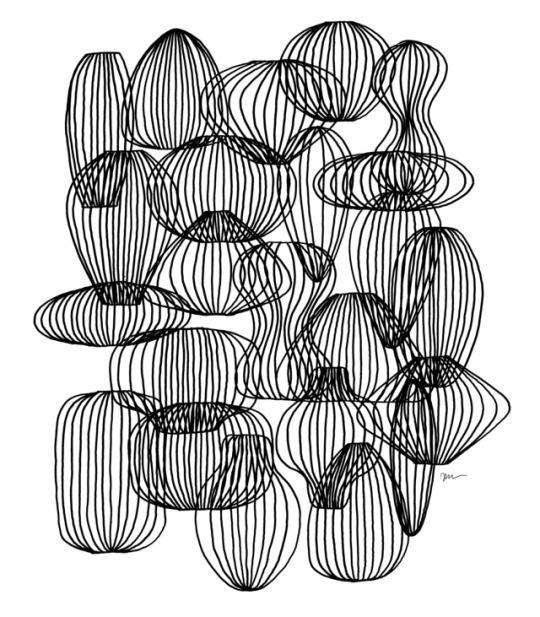 Pleats paper objects. Drawing d - jphg   ello