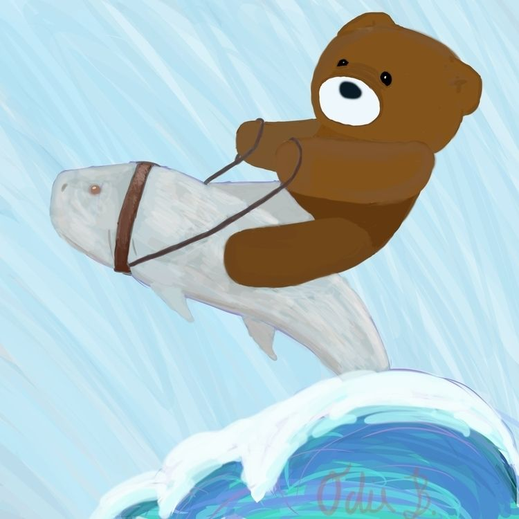 bear, fish, bearridingafish, surreal - theodeity | ello