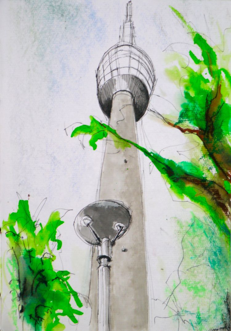 TV-Tower Stuttgart - urbansketching - reginaannamaria | ello