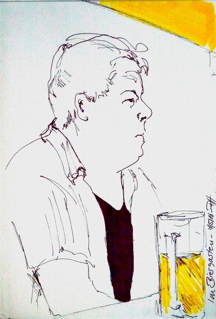 Man drinking beer garden pub - man - reginaannamaria | ello