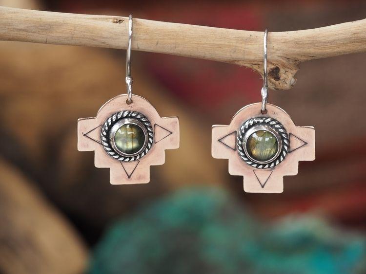 Copper + Silver handmade earrin - itayaarte | ello