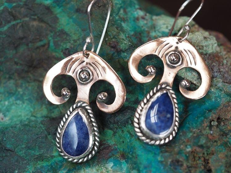Copper Silver earrings, teardro - itayaarte | ello