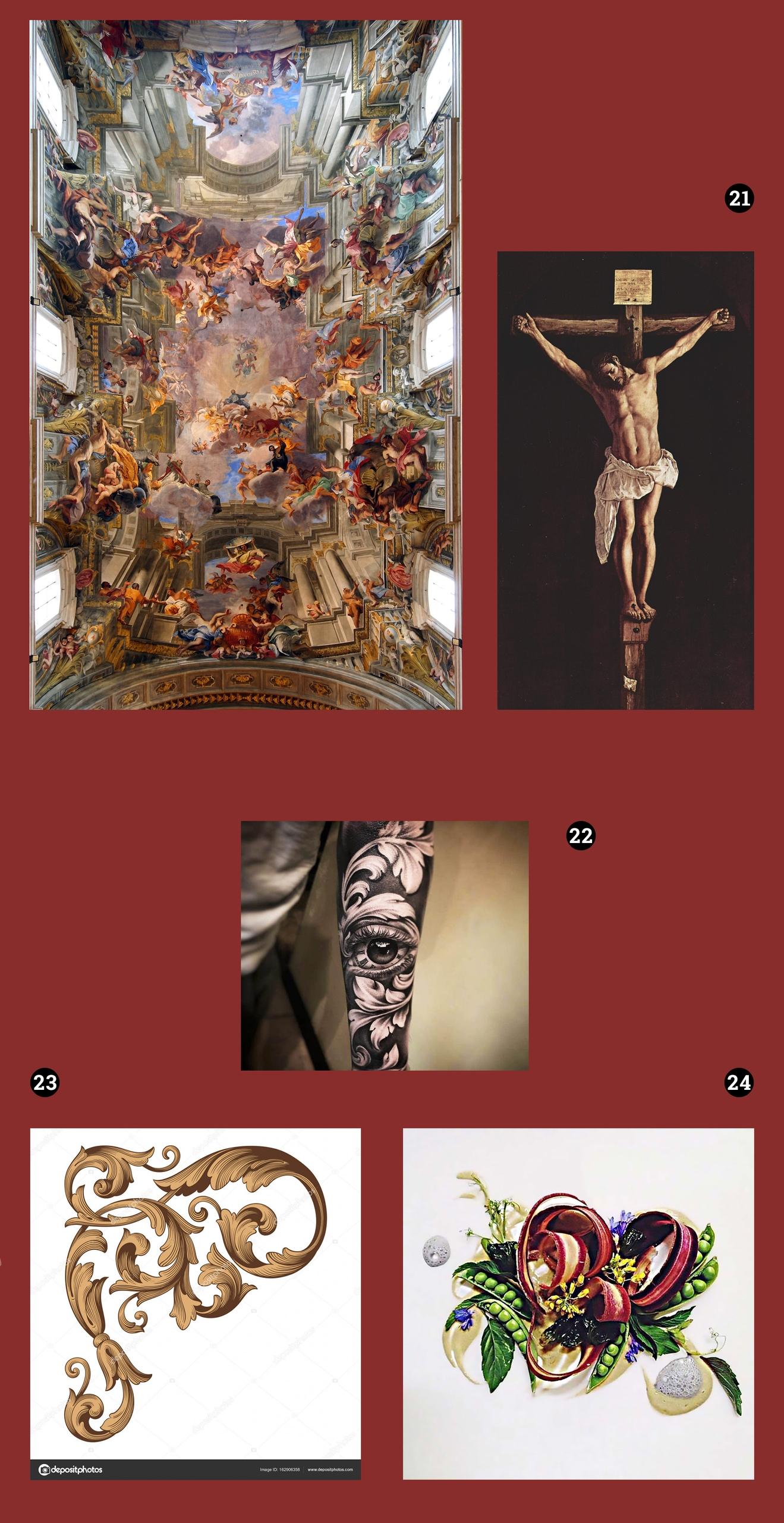 Obraz przedstawia cztery zdjęcia na bordowym tle. Widzimy tatuaż, fresk na sklepieniu świątyni, krucyfiks, geometryczny ornament , oraz kompozycję z fragmentów produktów spożywczych.