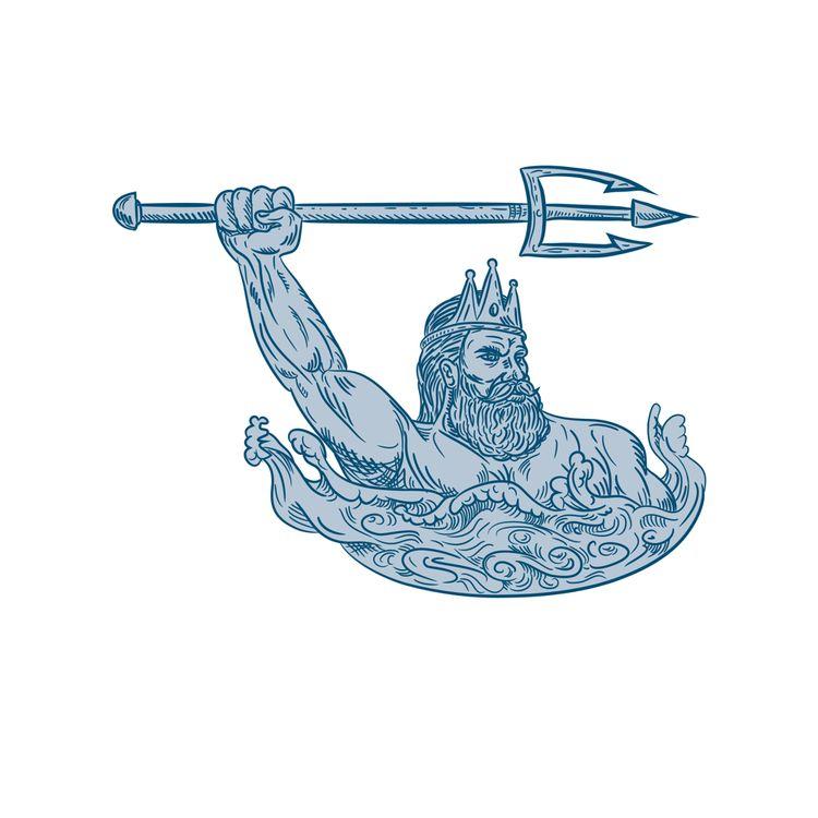 Poseidon Wielding Trident Drawi - patrimonio | ello
