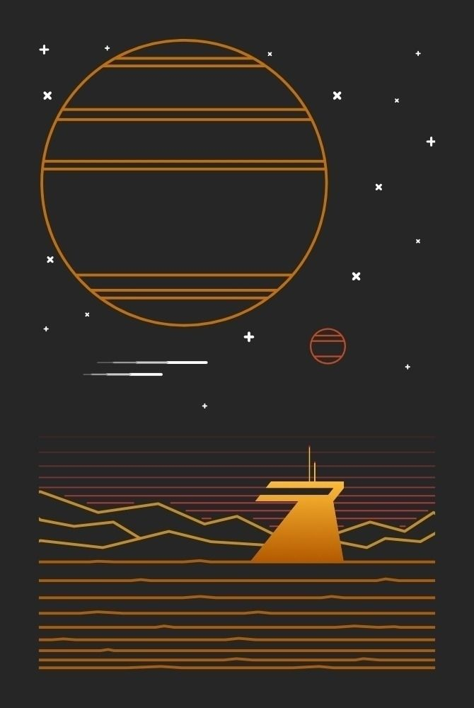 Outpost - poster, tshirt, scifi - kosmicroy | ello