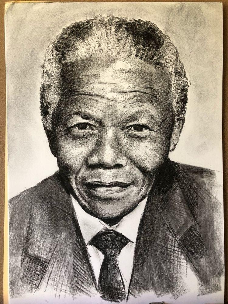 Nelson Mandela, charcoal drawin - struanart | ello
