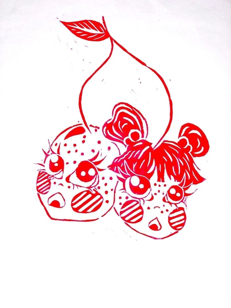 printmaking, cherry, baby, twins - z_multimedia | ello