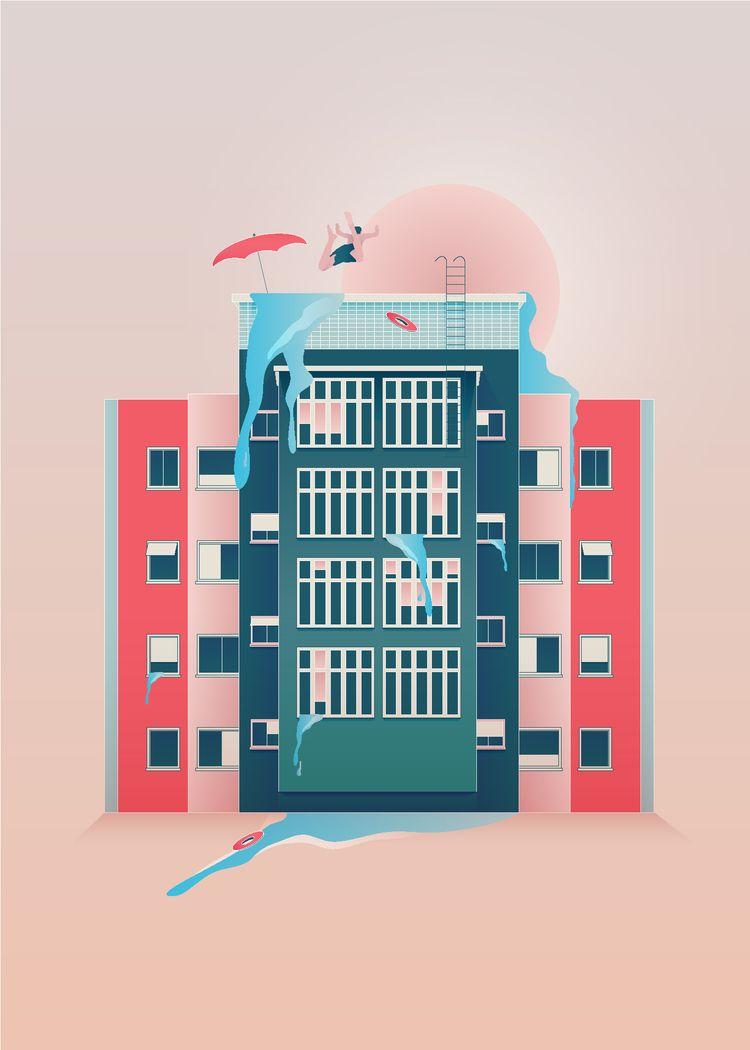 Lato mieście. Summer city - illustration - ewelinagaska | ello