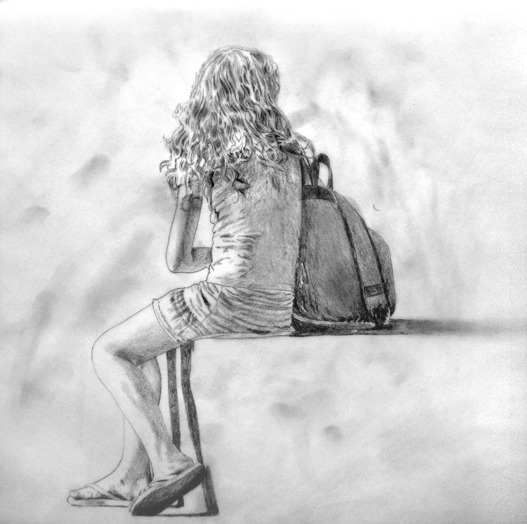 Sitting - drawing, art, illustration - pedrarochaart | ello