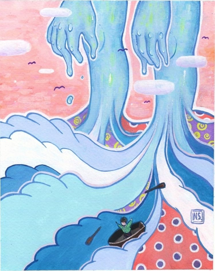 Flood Acrylic gouache paper - illustration - tinyhermit | ello
