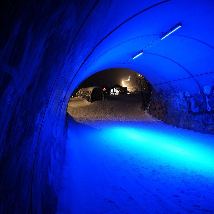 blue tunnel - lights, norway, trysil - stigergutt   ello