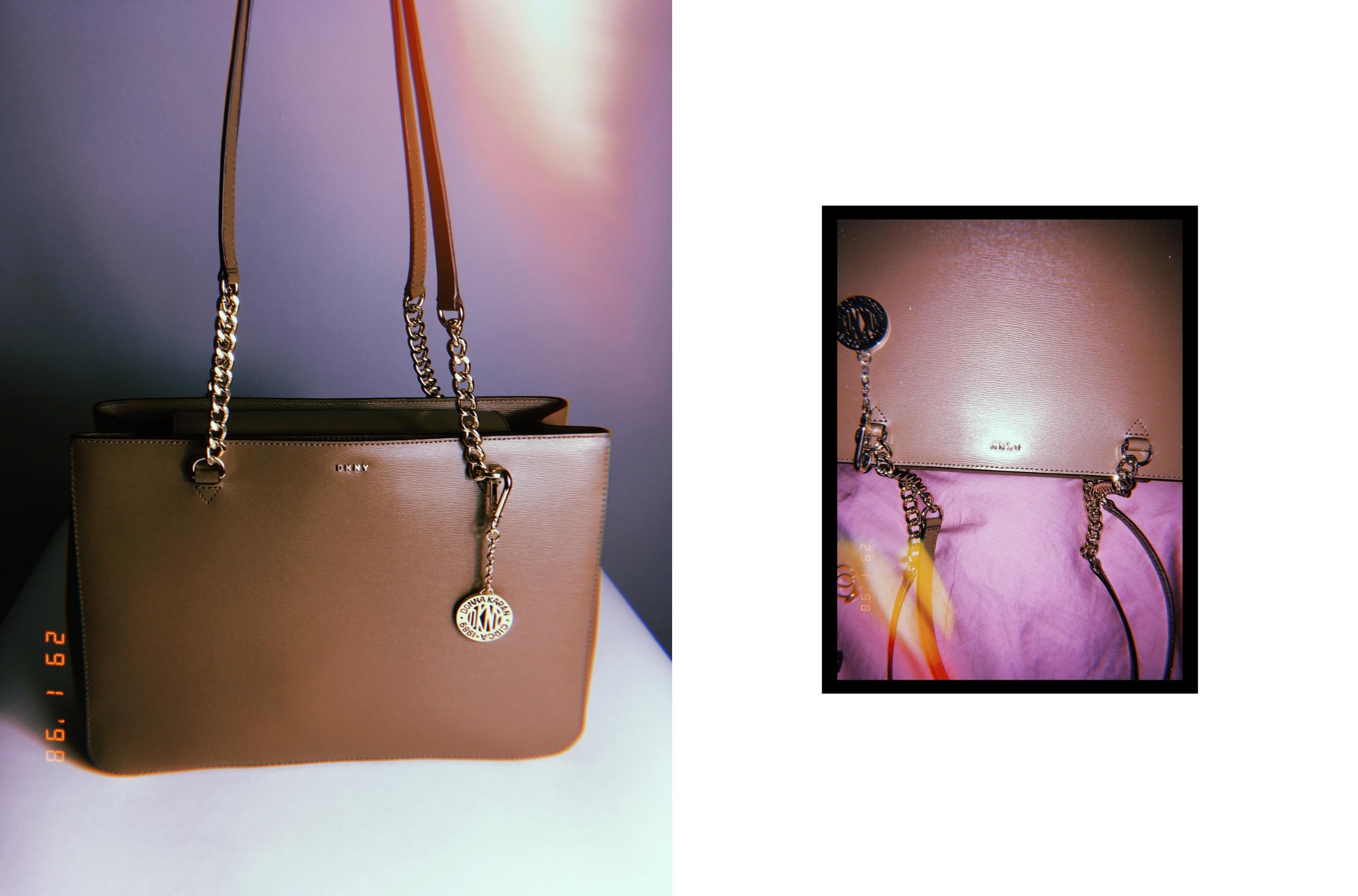 Obraz przedstawia dwa zdjęcia brązowej torebki. Jedno zdjęcie jest mniejsze i otoczone czarną ramką.