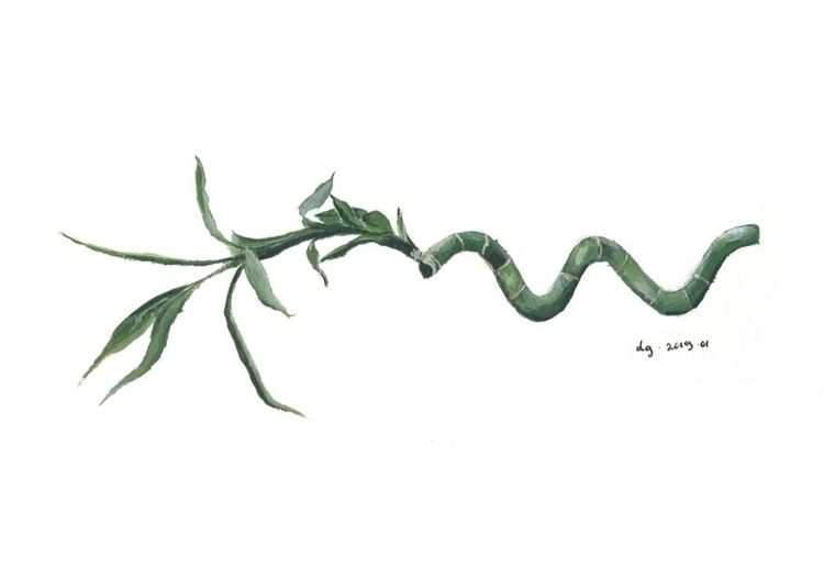 Bamboo leaf, painted acrylics.  - dgdraws   ello