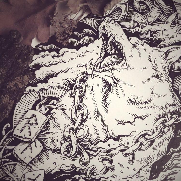 piece Ello. Fenrir, ink paper.  - theoreticalpart | ello