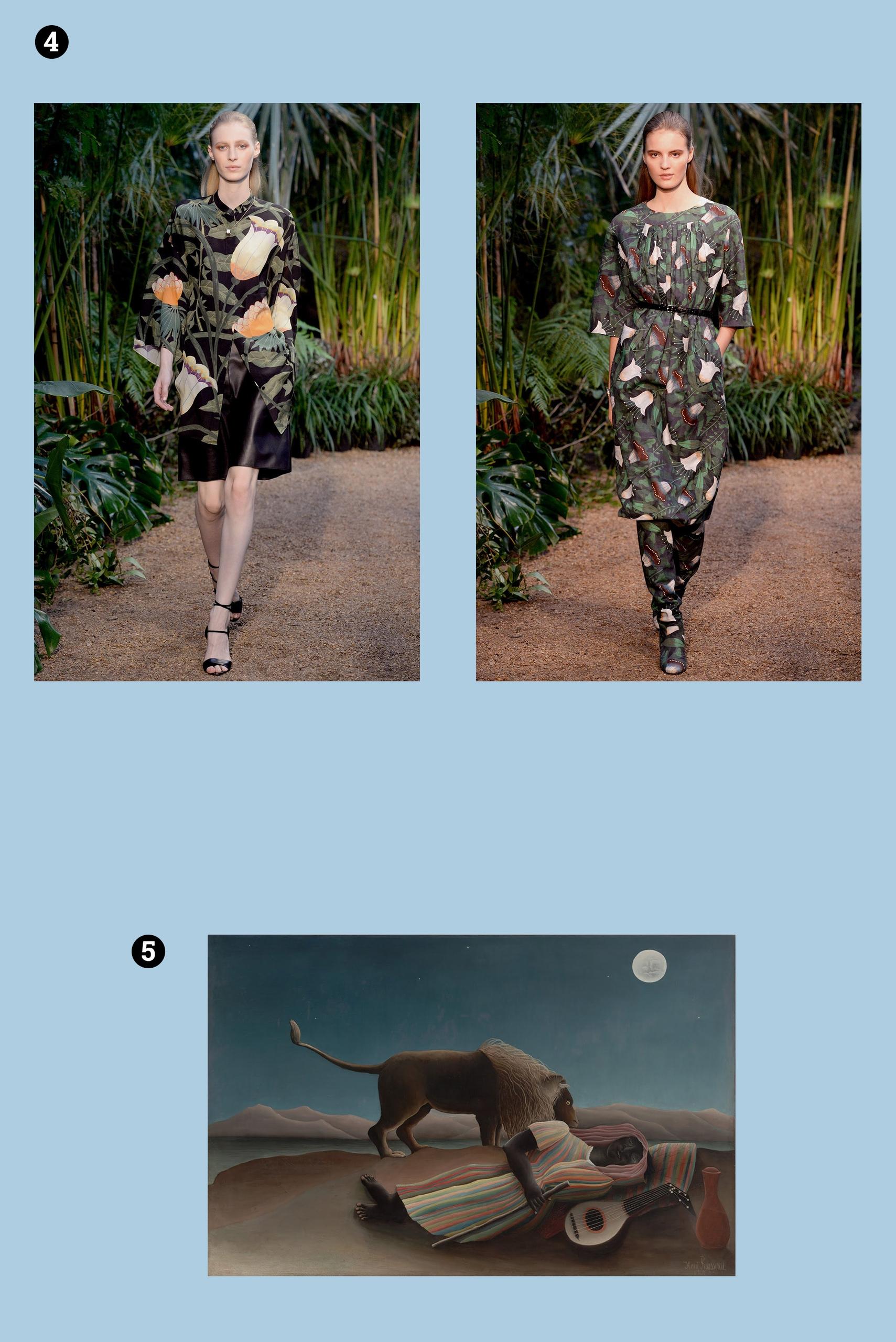 Obraz przedstawia trzy zdjęcia. Na dwóch z nich widzimy modelki w strojach na wybiegu. Na pozostałym widzimy obraz znanego artysty. Całość na jasno-niebieskim tle.