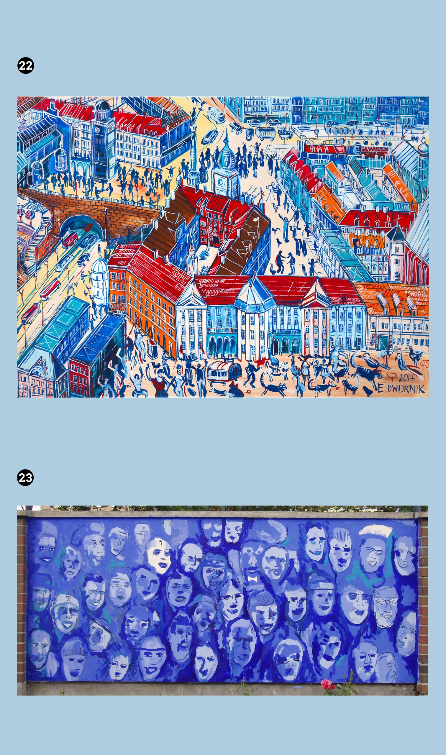 Obraz przedstawia dwa zdjęcia znanych obrazów. Całość utrzymana w niebieskiej tonacji.