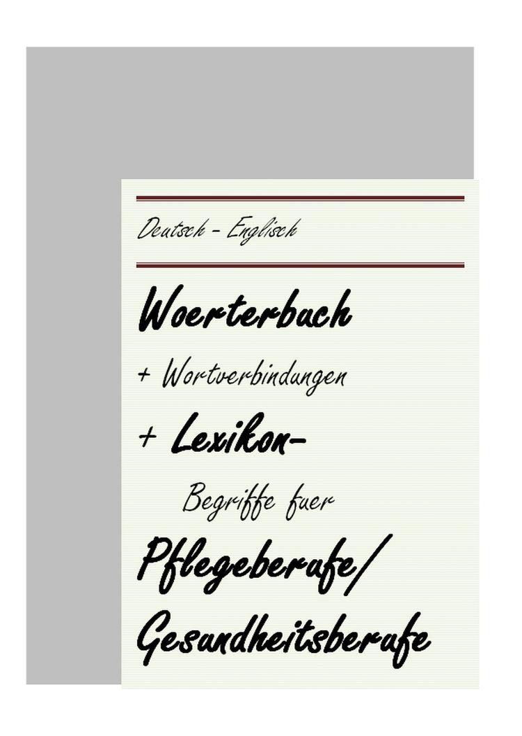 Woerterbuch Pflege: deutsch-eng - mechatronik-lehrmittel-wagner | ello