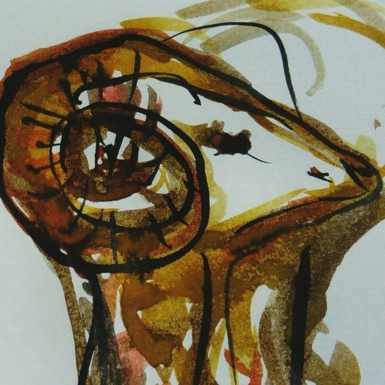 Detail. Ink/gouache - artist, satyr - barefooted-hierodule   ello