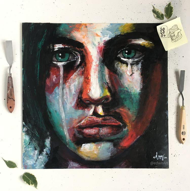 Portrait 6, acrylic panel, 42x4 - edwnart | ello