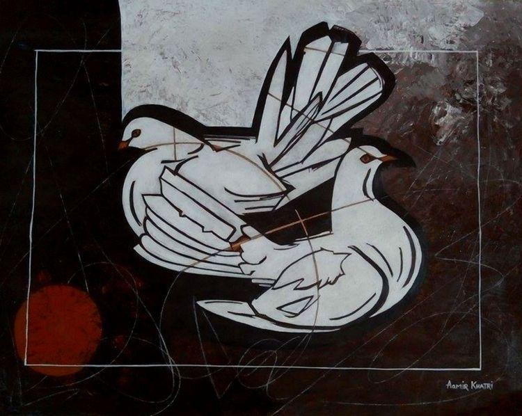 beautiful painting pigeons' art - katiejones1   ello